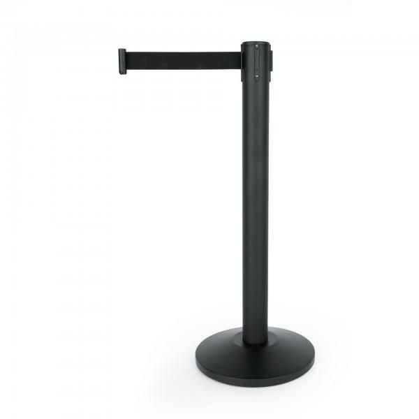Absperrständer - Serie BIGflex - schwarz-pulverbeschichtet - Gurt schwarz - 1215 645